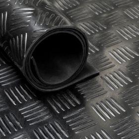 Gummiläufer / Gummimatte von der Rolle,  Tränenblech, 140cm, 3 mm dick